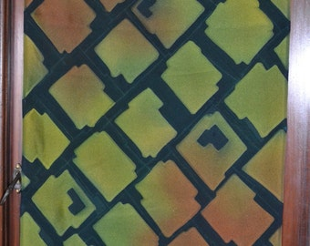 "ALLIGATOR GREEN and soft rust big block water resist kimono silk 57"" x 14"""