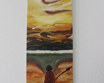 Maasai in the African savannah, acrylic oil painting