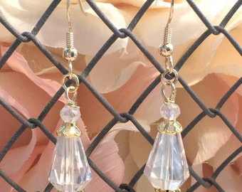 Clear Crystal Drop Earrings with Gold Accents - Bridesmaids Sets