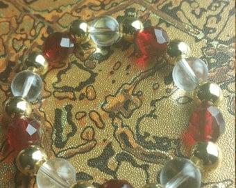 red bracelet, red and gold bracelet, beaded bracelet, womens bracelet