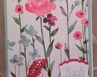 Handmade Floral Print Thank You Card