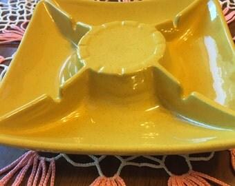 Frankoma Pottery Yellow Ashtray 490