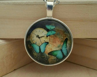 Butterfly Necklace-Butterfly Jewelry-Green Butterfly-Gift for Girls