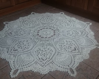 """Handmade Crochet Shabby Chic/Country/Vintage/Cottage Style Rug Natural Undyed Cotton D1.54cm/60"""""""