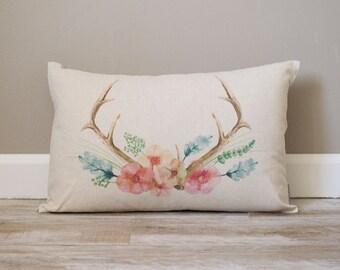 Deer Antler Watercolor Pillow | Rustic Pillow | Watercolor Pillow | Monogrammed Gift | Rustic Home Decor | Home Decor | Housewarming Gift