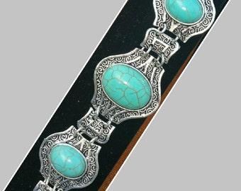 Southwest Turquoise Floral -Filigree Oval Link Bangle Bracelet