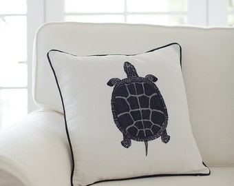 Sea Turtle Cushion Cover - Ink Navy