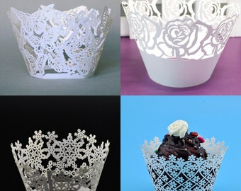 12-48 Pcs Wedding Anniversary Birthday Party Filigree Vine Cupcake Wrappers Wraps Cases