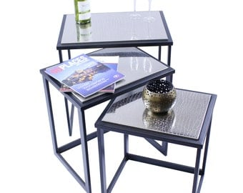 Nested Tables with Engraved Stainless Steel  Top Set of 3