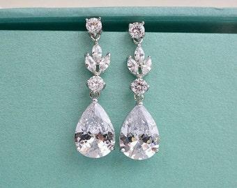 Cubic Zirconia Bridal Earrings, CZ Wedding Earrings, Crystal Teardrop Earrings, Bridal Drop Earrings, Bridesmaid Earrings, Wedding Jewelry