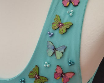 Rainbow Butterflies with blue Pearls M