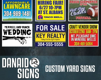 10 Double Sided Custom Yard Signs with Stakes