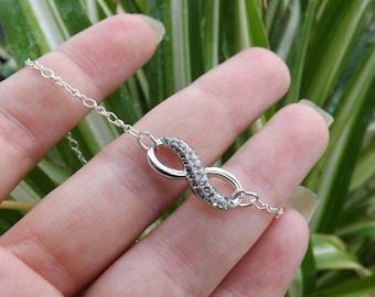 "Infinity pendant necklace Swarovski ""Crystal/Black diamond"""
