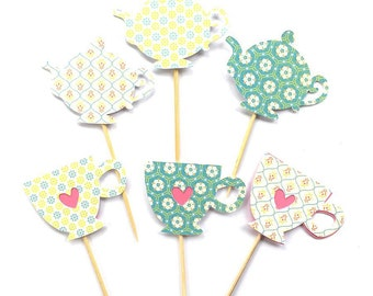 12 Teacup and Teapot Cupcake Toppers, Decoration Cake Topper