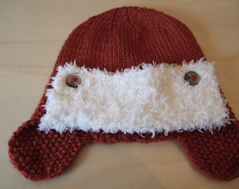 Hand knitted Baby Aviators style Hat. Trapper earflap hat, to fit approx 0-4 months, Baby Shower gift, Newborn Baby, Aviator Baby Hat