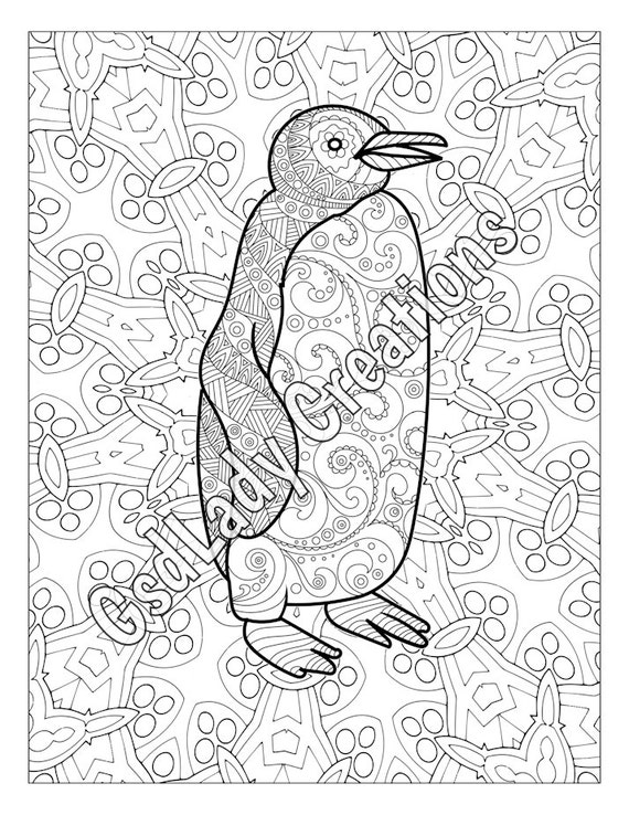 Coloring Animals With Patterns : Penguin animal art page to color zentangle