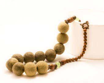 Felt beads in shades of green