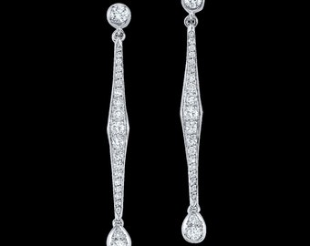 Drop Stick Diamonds Earrings