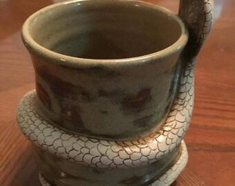 Pottery coffee mug specialty snake Cobra Mug