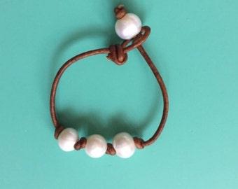 triple knotted Pearl anklet/Bracelet