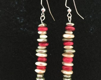 Dangle earrings, multicolor