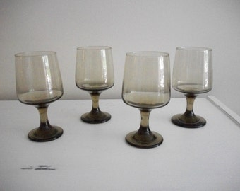 Set of Four Vintage Mid-Century Libbey Tawny Accent Water/Wine Glasses-Smoked Glass