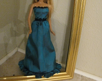 Barbie Doll Clothes-Aqua ball gown
