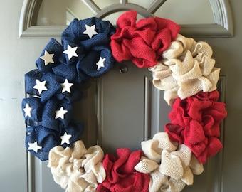 1776 Burlap Wreath - Antique American Flag Burlap Wreath, Fourth of July Burlap Wreath, Memorial Day Burlap Wreath, Summer Burlap Wreath