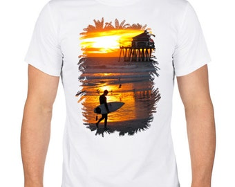 Men's T-Shirt. Cotton T-Shirt. Screen Printed Shirt. White T-shirt. Summer surfing.