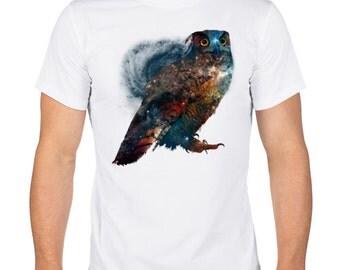 Owl print. Art Men's T-Shirt. 3D Tshirt.  Cotton T-Shirt. Screen Printed Shirt. White T-shirt.