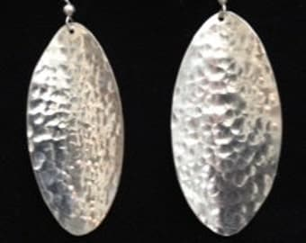 Large hammered sterling silver earrings