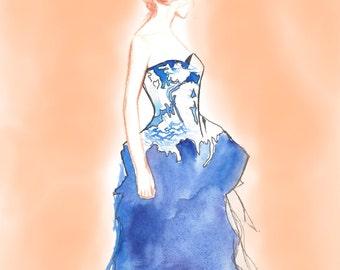 Fashion Illustration, Fine Art Giclee Print, Watercolor, Fashion Design