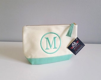 Monogram canvas cosmetic bag, Mint monogram makeup bag, personalized accessory bag, bridesmaids gift idea