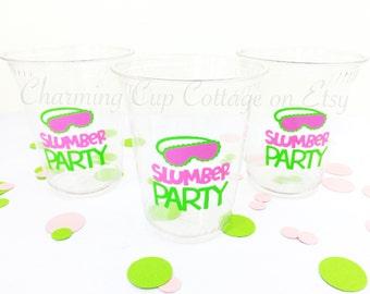 Slumber Party Cups/Pajama Party/Pajama Party Cups/Sleepover Party Cups/Party Cups/Slumber Party Theme/Sleepover Theme/Slumber Party Products
