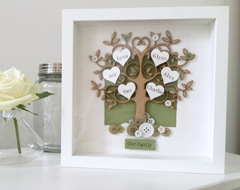Personalised Family Tree ANY COLOUR Box Frame. Button Detail. Perfect gift for mothers day, birthday, new home, wedding.