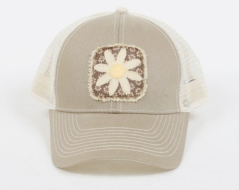 Trucker Hat with Flower Decal