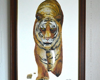 """Tiger - signed and framed original oil painting on 30x20"""" canvas"""