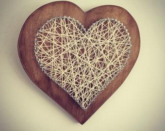 Heart shape wall hanging string art