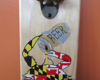 Maryland Flag Crab Drinking Beer Wooden Bottle opener with magnetic cap catcher bottle cap catcher opener
