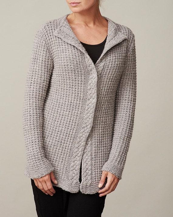Ladies Raglan Jumper Knitting Pattern : Womens waffle knit cardigan PDF knitting pattern /Cable knit sweater pat...
