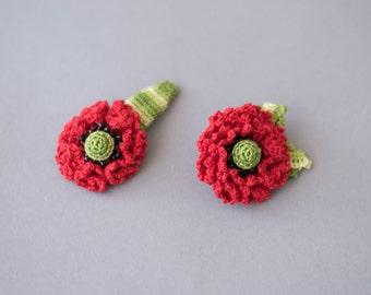 Crochet hair clip, crochet brooch, flower hair clip brooch set, flower hair clip, flower brooch, crochet poppy, poppy set, hair accessory