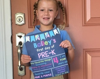 Pre-K Signs, First Day Of School, 1st Day Of Pre-k, Back To School Signs, Grade School Signs, Printable Photo Prop, Kids School Sign