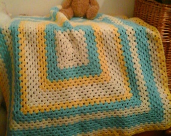 Baby's crochet  cot or pram blanket.Home made.