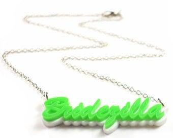 Bridezilla double layer laser cut necklace, CHOOSE COLOUR!