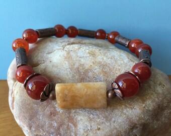 Jade & Agate Gemstone Bracelet, Beaded Bracelet, Stretch Bracelet, Boho Bracelet, Stacking Bracelet, Elastic Bracelet, Gift for Her