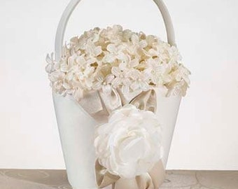 Taupe / Deep Cream Satin Rose & Pearls Flower Girl Basket for Wedding