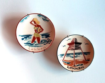 "HAK Kähler Keramik ""Løkken"" Souvenir Plate - Set of Two. Vintage / Scandinavian Design / Danish / Denmark / Mid Century / Modern / Retro"