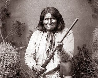 Geronimo Native American Indian With Rifle Chief Apache Leader & Warrior Photo Art Print Picture