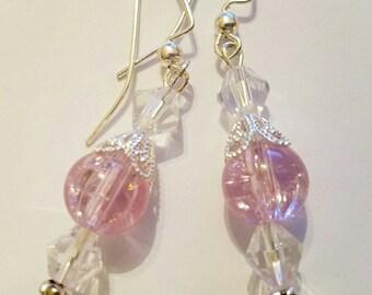 Pink and Crystal Drop Earrings