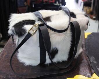 Genuine Cowhide Fur Travel Bag